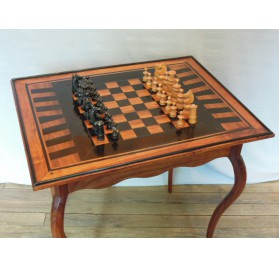 Padouk and ebony chess table, eighteenth century