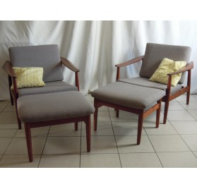 Pair of scandinavian teak easy chairs & ottomans by Arne Vodder mod. FD 164