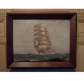 Navy painting : 4 masts square sailboat signed Pierre Forest