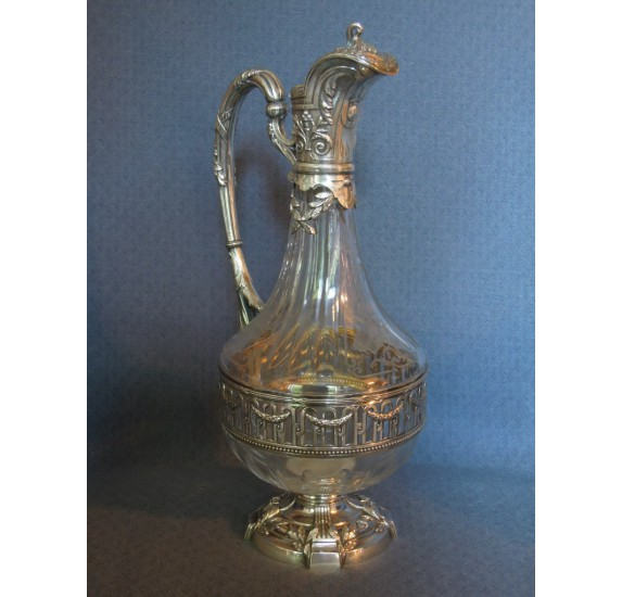 Silver and crystal ewer, Louis XVI style