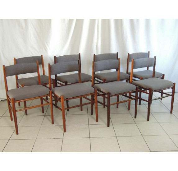 Sold Set Of 8 Rosewood Dining Chairs, Scandinavian Style