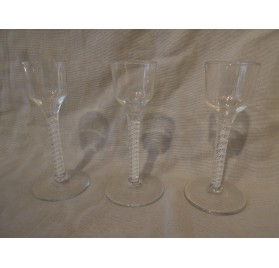 Set of 3 english air twist stem wine glasses, 18th century