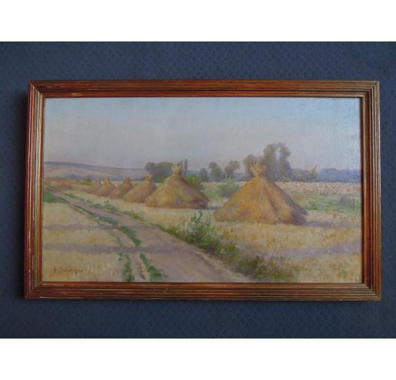 Painting by Delahogue : haystacks