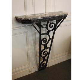 Entrance Art Deco console, marble and iron