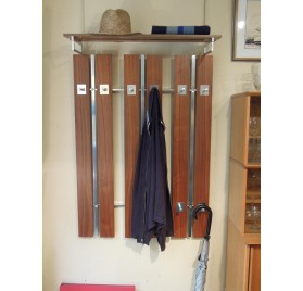 Scandinavian wall coat rack, teak and metal