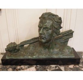 Art Deco bronze : Jean Mermoz bust by Ouline