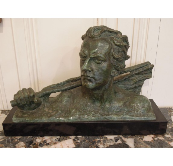 Bronze Art Déco : buste de Jean Mermoz par Ouline