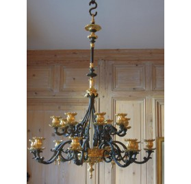 19th century chandelier, gilt and patinated bronze