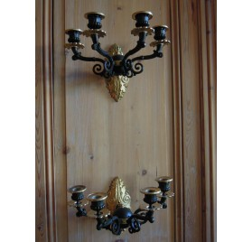 Pair of gilt bronze wall sconces, 19th century
