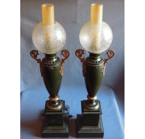 ire de lampes à huile en tôle peinte début du XIXe siècle