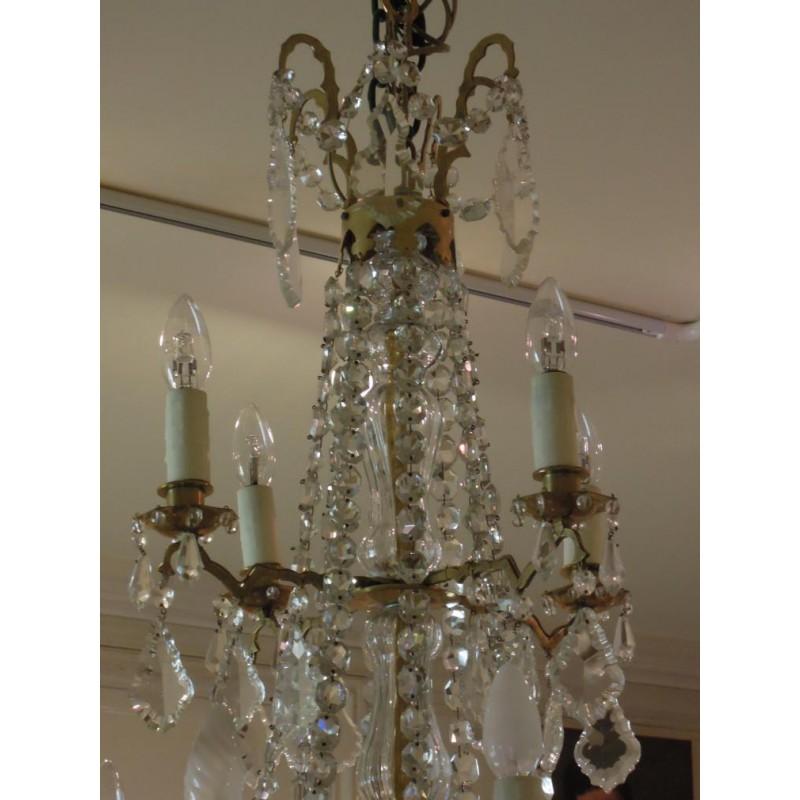 Grand lustre pampilles en cristal du xixe si cle - Lustre a pampilles cristal ...