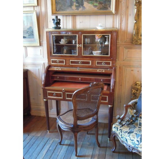 18th century mahognay cylinder desk with showcase