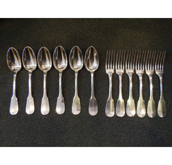 Solid silver cutlery set, 6 forks and 6 spoons by Hénin & Vivier