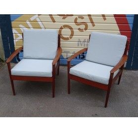 Pair of danish teak armchairs, designed by Grete Jalk