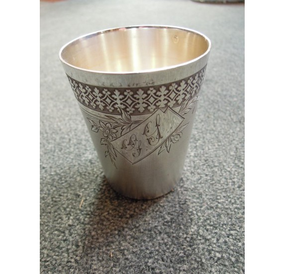 Solid silver timbal Hénin & Cie monogram G S