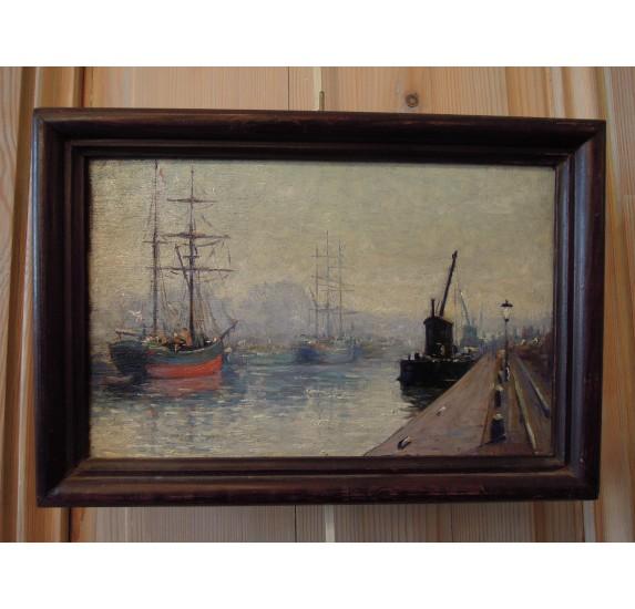 Géo LEFEVRE (1876-1953), Caen, Le bassin au matin.