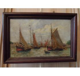 Géo LEFEVRE (1876-1953), Ouistreham, Barques de pêche.