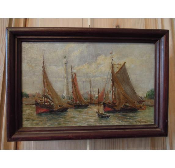 Geo Lefevre, oil on panel : Ouistreham & fishing boats.