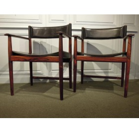 Pair of rosewood danish armchairs, design by Kurt Østervig for Sibast