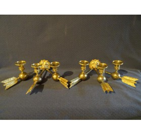 Pair of gilt bronze lion head wall sconces, Empire period