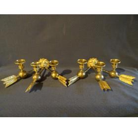 Paire d'appliques à tête de lion en bronze doré, époque Empire