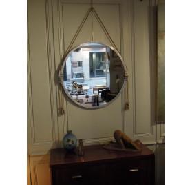Grand miroir rond en aluminium d'époque Art-Déco