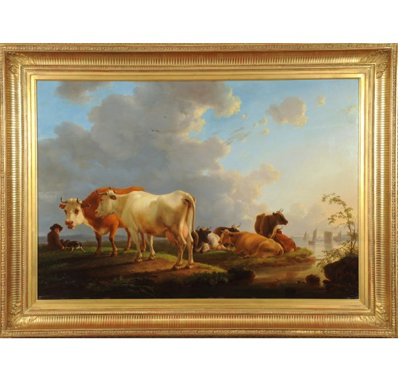 Painting by Jean-Baptiste De Roy: cows in the meadow