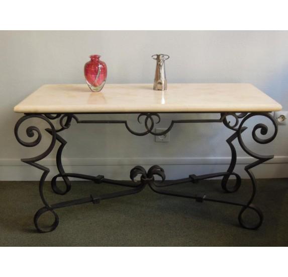 Bout de canapé ou table basse en travertin et fer forgé