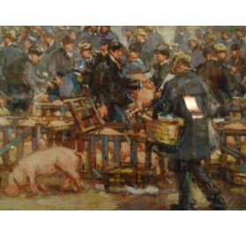 Normandy painting : pig market by Richard Le Blanc