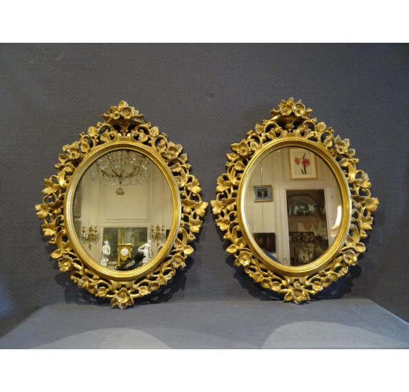 Pair of gilded wood mirrors