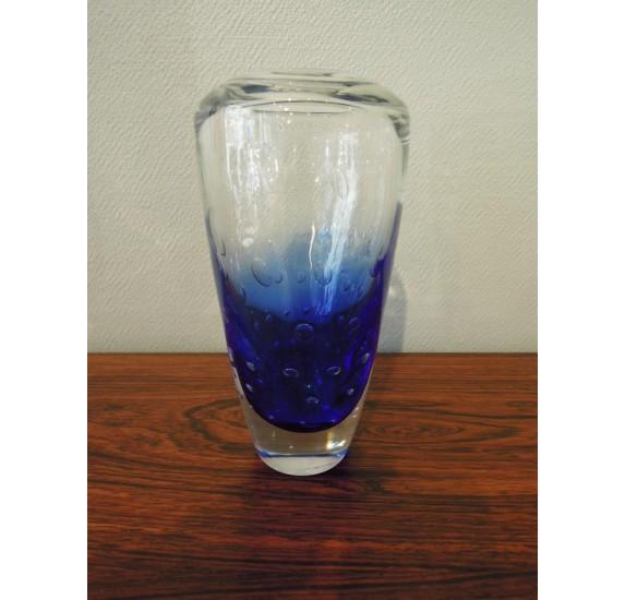 Vase en verre bullé bicolore