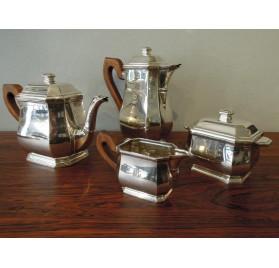 Service à thé et café en argent massif d'époque Art-Déco