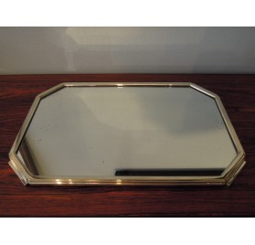 Art Deco serving tray, mirror and silver plated metal