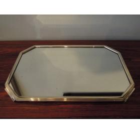 Plateau de service Art Déco miroir et métal argenté