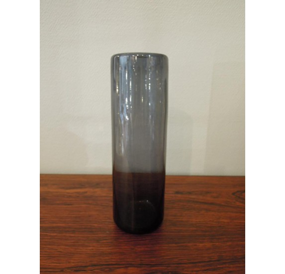 Blue glass vase by Claude Morin in Dieulefit
