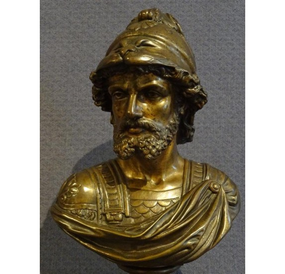 Patinated bronze representing a bust of a man in armor