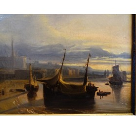 Pair of oils on canvas setting marine scenes by Gudin