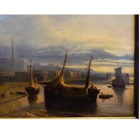 Paire de marines sur toile, signées Théodore Gudin