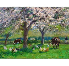 Apple blossoms in Normandy by Louis Edouard Garrido