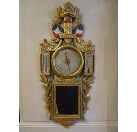 Baromètre révolutionnaire en bois sculpté peint et doré