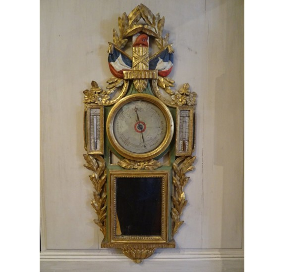 Revolutionary barometer in painted and gilded carved wood