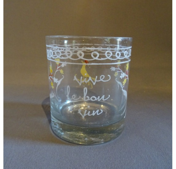 Enamelled Norman glass with motto : long live good wine