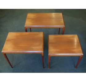 Johannes Andersen teak nesting tables for CFC Silkeborg