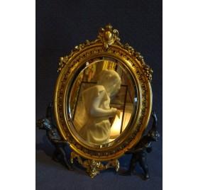 Miroir de table en bronze doré et émaillé, Barbedienne