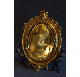 Table mirror in gilded and enamelled bronze, Barbedienne
