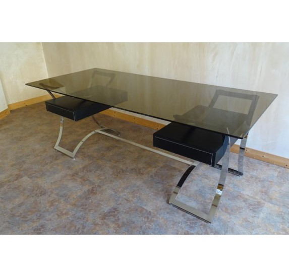 Sixties executive desk, chrome and glass top, by Dassas