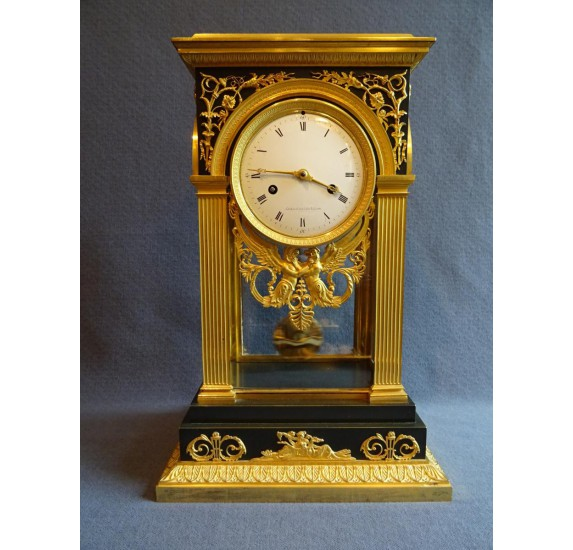 Gilt bronze portico clock, Empire period
