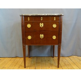 Small mahogany chest of drawers, Louis XVI period stamped by Fidelis Schey