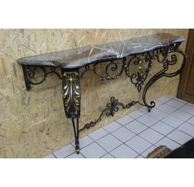 Louis XV style lacquered and gilded wrought iron console table