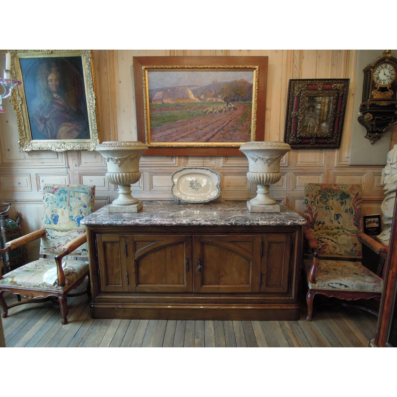 Sold Oak Hunting Buffet Marble Top